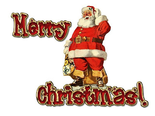 Santa is coming picture clip art with Merry Christmas lettering