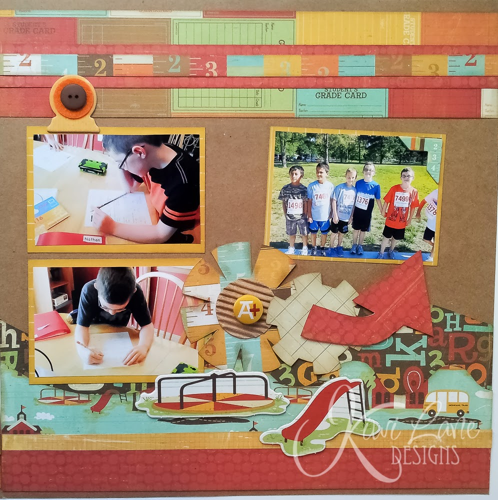Second Grade layout for Kiwi Lane DT Doodles sketch #6 -- www.MightyCrafty.me