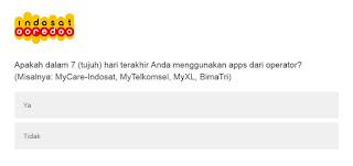 Isi Survey Dari Indosat Ooredoo Berhadiah Pulsa 50 ribu dengan total 200 Pulsa