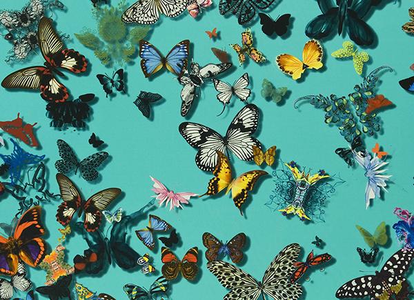 Rosa beltran design daring wallpaper in the powder room - Tissu christian lacroix ...
