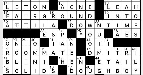 dorm assignment crossword