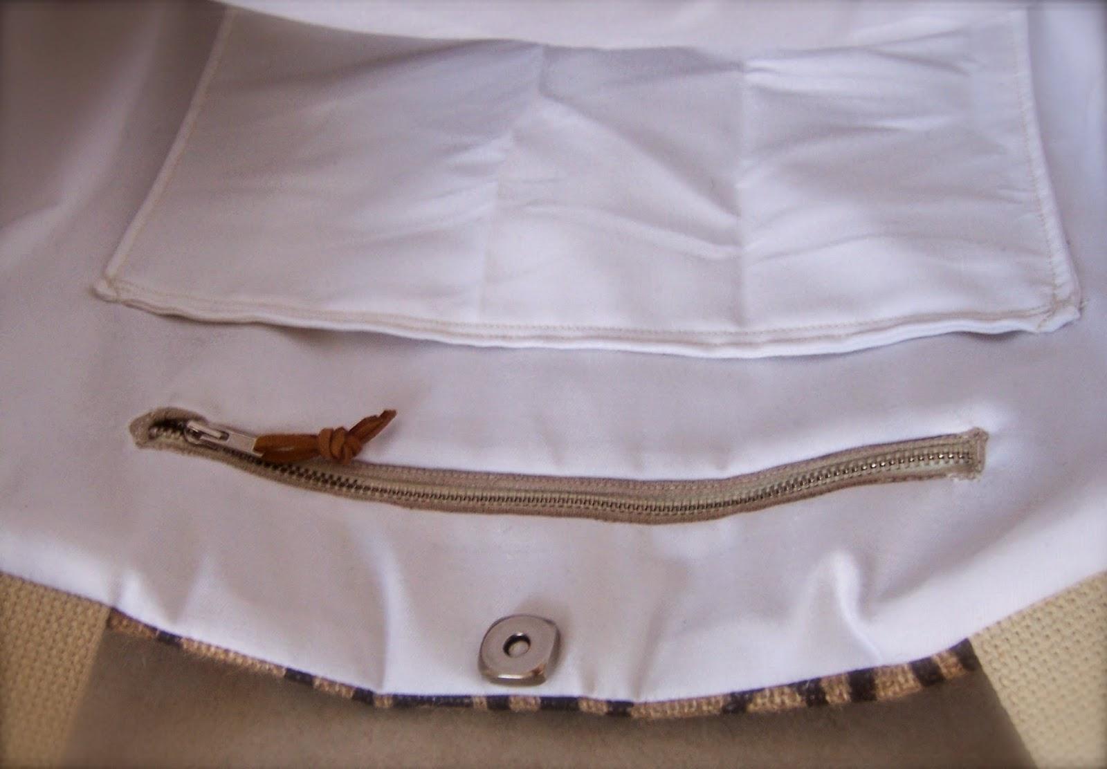 Clean Sound and New burlap tote bag - interior detail - linaandvi.blogspot.com