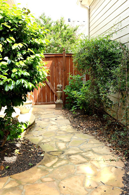 path that winds with stone and plants