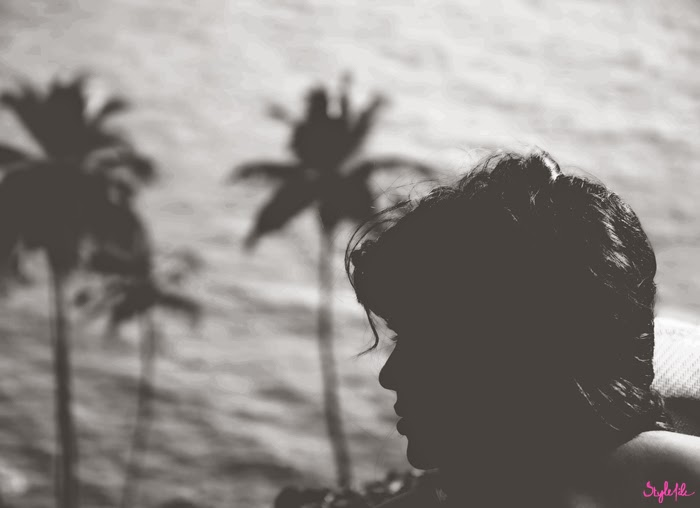 sunset, black and white, sunshine, hair, silhouette, shine, coconut, trees, woman, photography, style file india