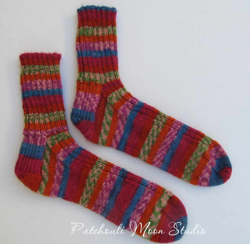 Patchouli Moon Studio: Hand Knit Socks in a Self-Striping Yarn