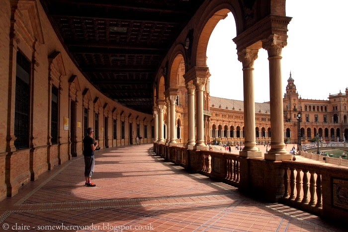 Taking in the heat of the day at Plaza de España - Seville