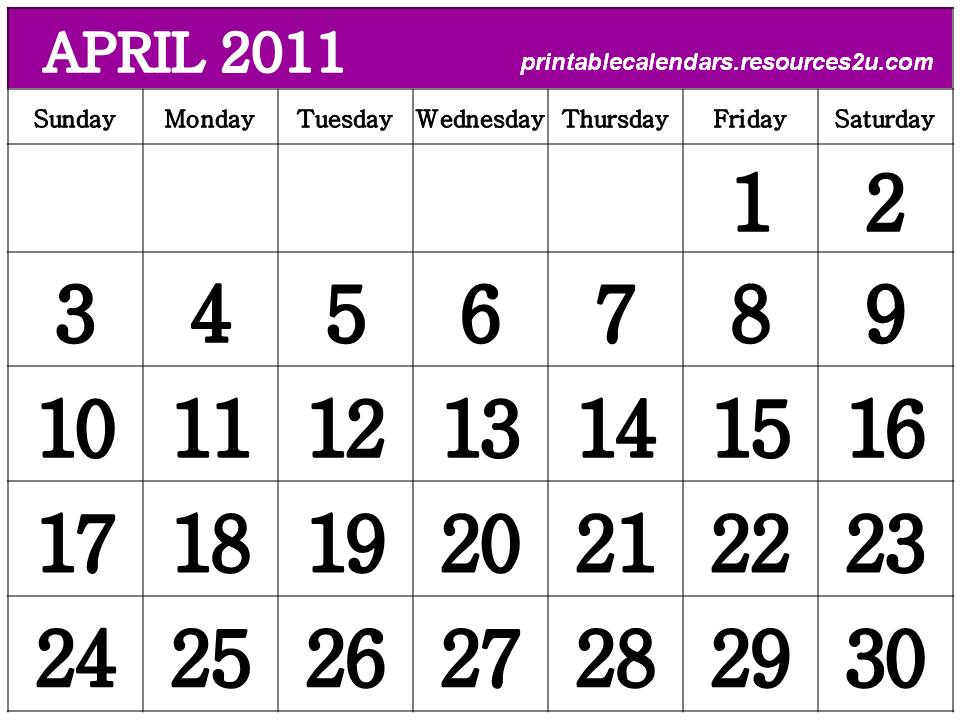 blank calendars april 2011. hot lank calendars april