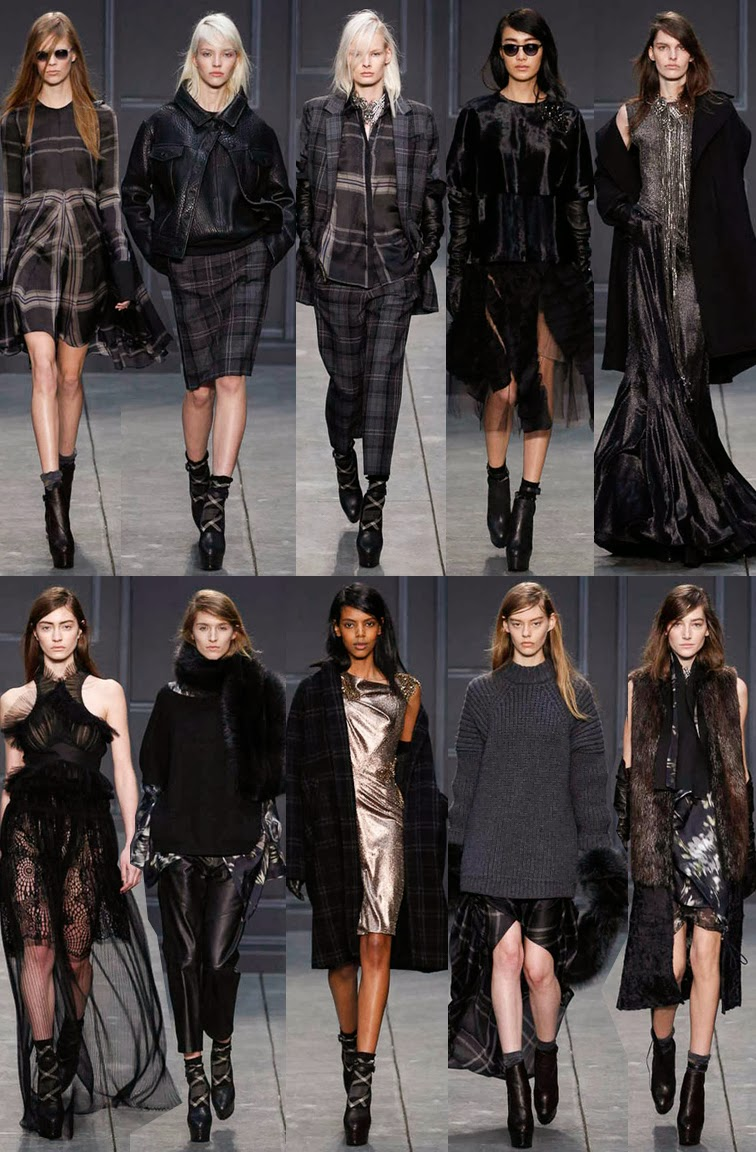 Vera Wang fall winter 2014 runway collection, NYFW, fashion week, plaid, grunge, darkness