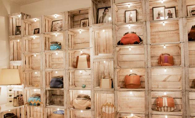 Wall of bags in Caroline De Marchi Showroom