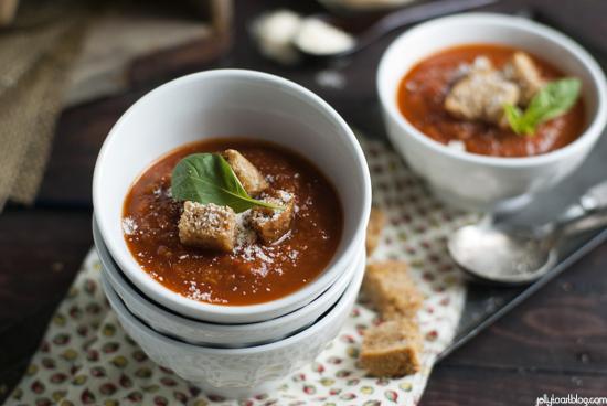 roasted tomato soup + garlic croutonsJelly Toast