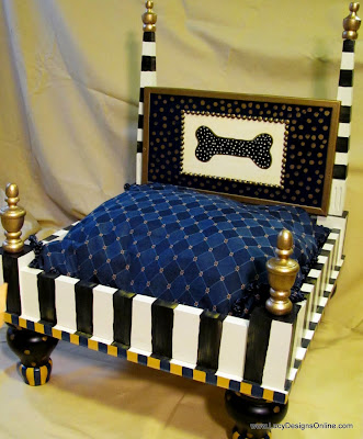 dog bed with black and white stripes