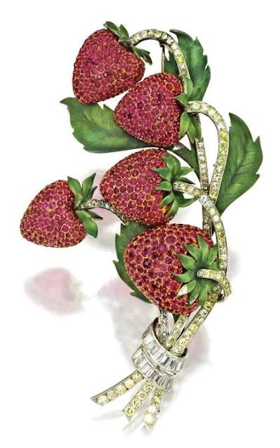 Ruby, green enamel and diamond strawberry brooch, Circa 1940