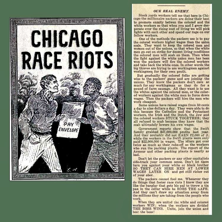 chicago race riots Carl sandburg, who would later become famous as a poet, wrote a series of articles on black migration and the 1919 race riots for the chicago daily news.