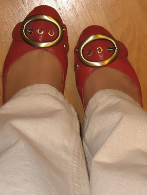 red shoes with buckle