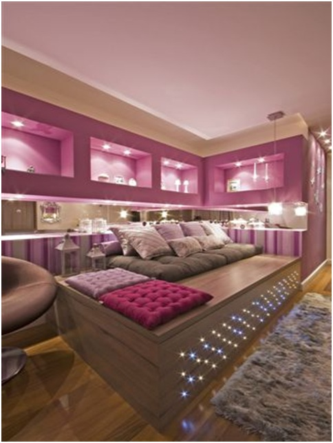 Grape color bedroom with pink and white stripes
