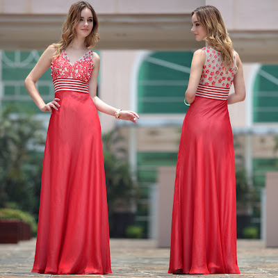 Red V-Neck Floor Length Dress