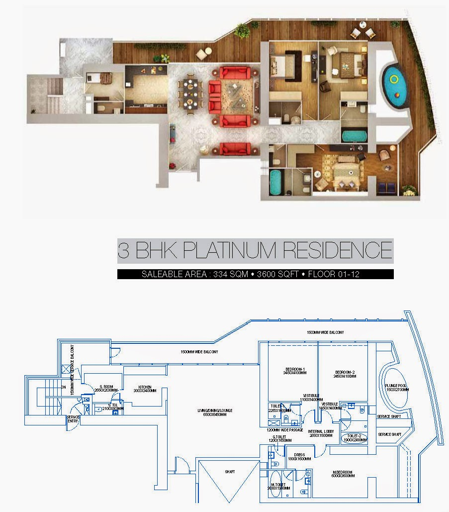 BRYS BUZZ :: Floor Plans   3 BHK Platinum Residence