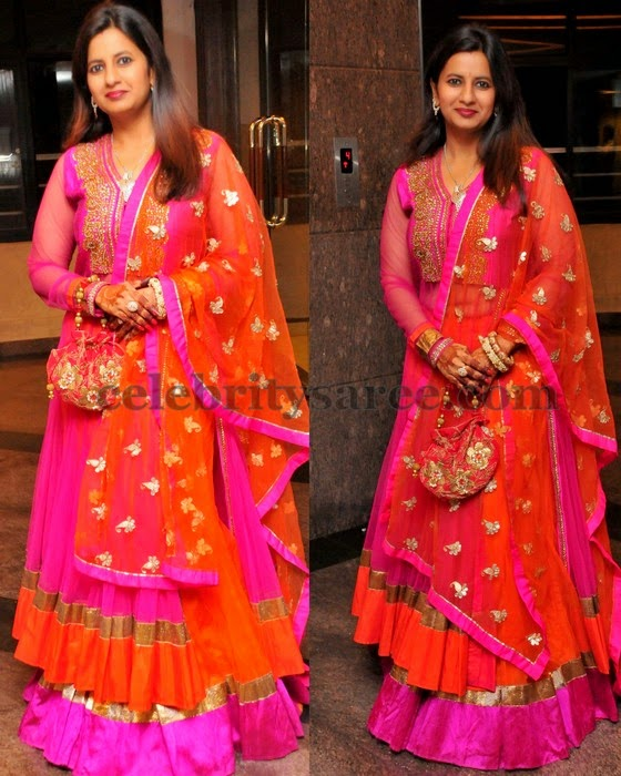 Pink and Orange Rich Lehenga