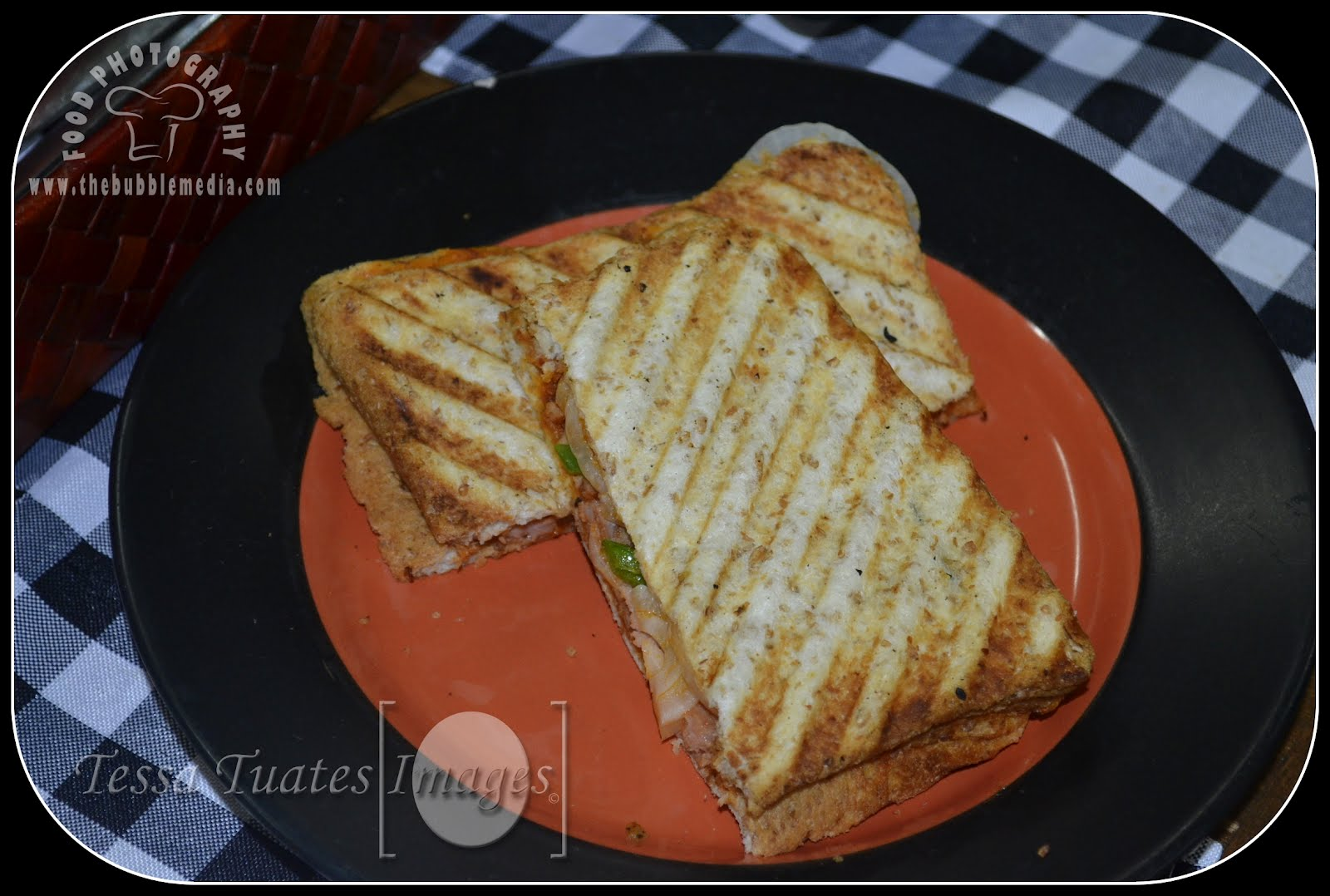 Salsicce Panini, grilled sausages, onions, bellpepper mozzarella cheese and pizza sauce in pressed whole wheat bread. http://www.thebubblemedia.com/