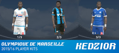 PES 2015 Olympique de Marseille Player Kits 15/16 by Kedzior