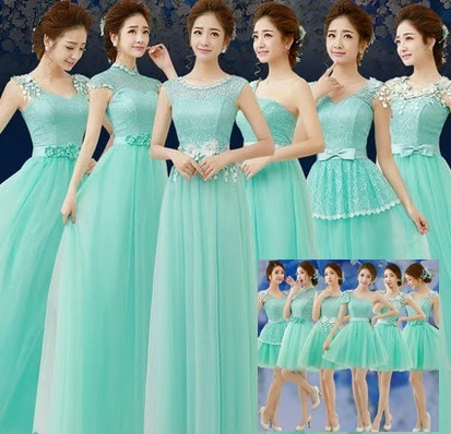 6-Design Turquoise Flowery Lace Bridesmaids Midi/MaxiDress