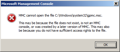 mmc cannot open the file c windows system32 gpmc msc
