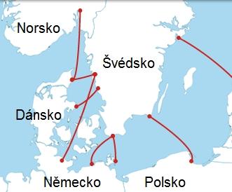 Trasy trajektů do Švédska