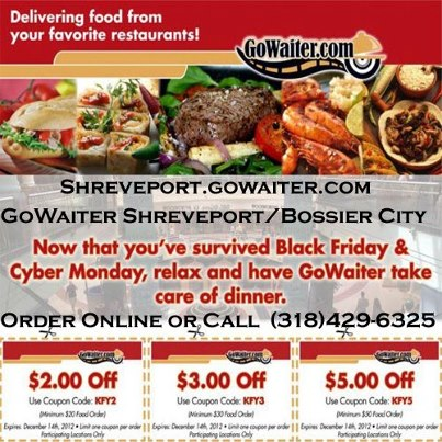 Dinner And A Movie With Gowaiter Shreveport We Have New Coupon For You Deliver Meals From Restaurants In Bossier City To Your Doorstep