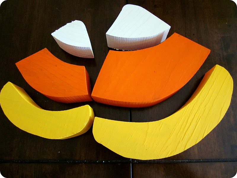 Halloween wood candy corn craft tutorial six sisters for Acrylic paint for wood crafts