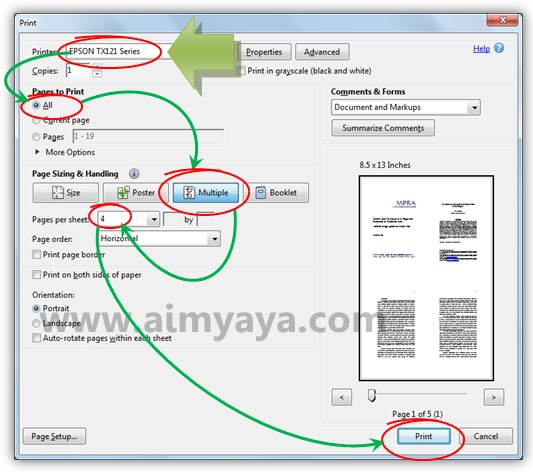 Gambar: Mencetak beberapa halaman file PDF dalam satu lembar kertas