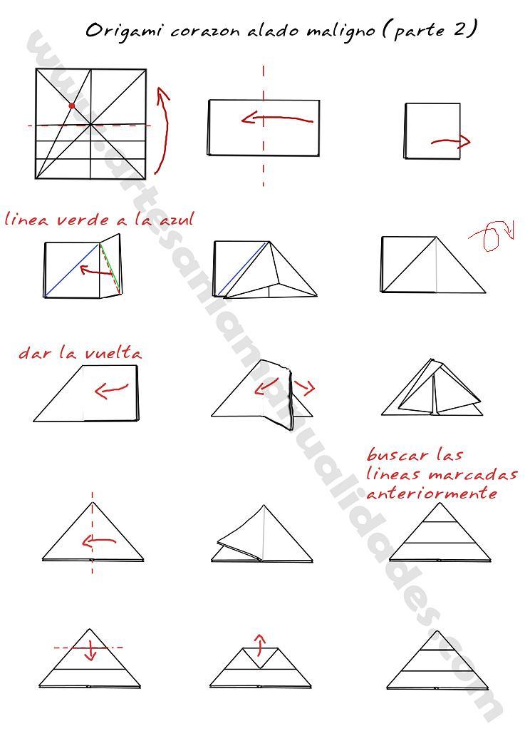 Origami corazón alado maligno - Creacion Artesanal