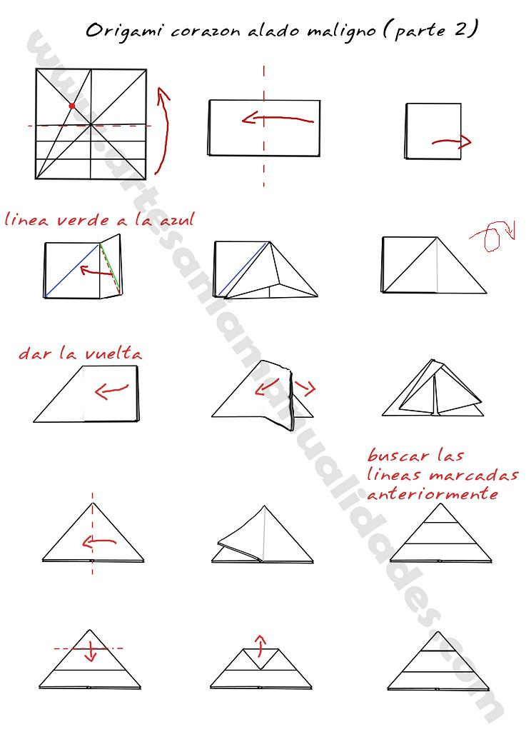 Creación Artesanal Origami corazón alado maligno