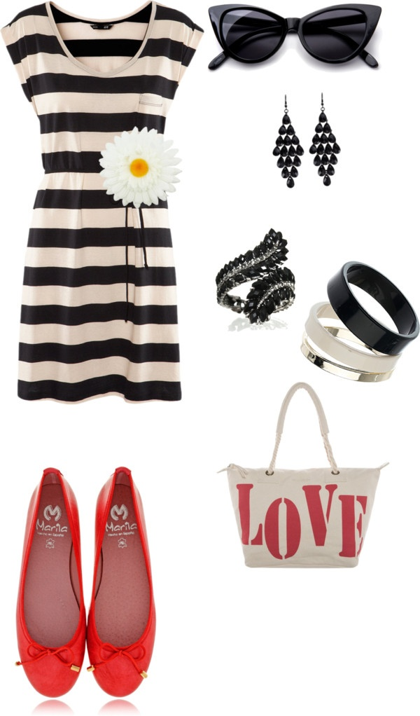 Strapped shirt, black sunglasses, ear tops, red shoes and hand bag for ladies