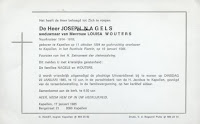 Rouwbrief Joseph Nagels 1884-1985