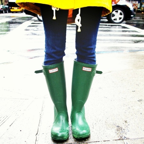 Green Hunter Rainboots New York City