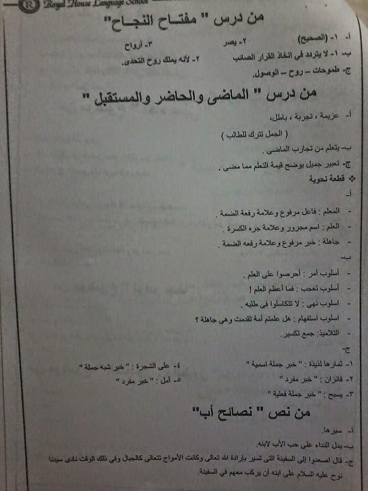حل أسئلة كتاب المدرسة عربى للصف السادس ترم أول طبعة 2015 المنهاج المصري 10401993_15509095685