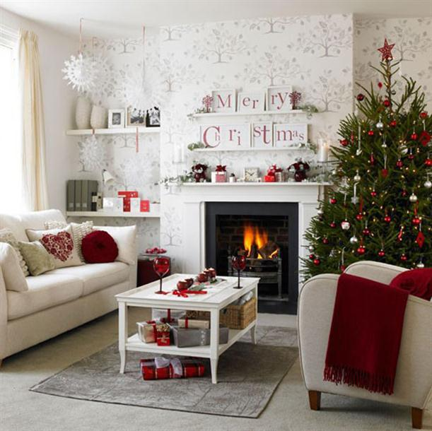 Christmas home decor and christmas tree decorating ideas for Christmas living room ideas