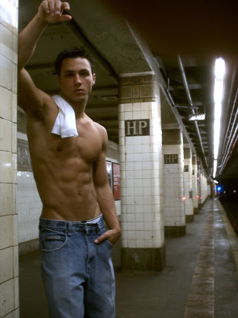 Michael Montesanto shirtless in the subway