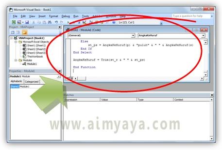 Gambar: Paste / menempelkan kode program untuk fungsi terbilang pada modul VBA
