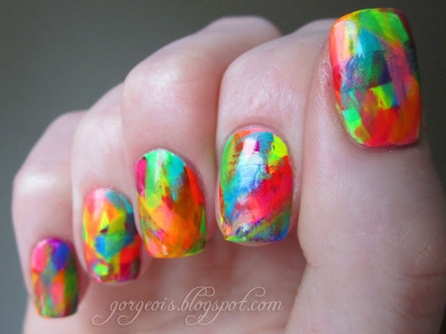Abstract Brush Stroke Nail Art - China Glaze Love's A Beach China Glaze Sun-Kissed China Glaze Sun Worshiper China Glaze I'm With The Lifeguard China Glaze Kiwi Cool-Ada China Glaze Splish Splash China Glaze Turned Up Turquoise China Glaze Flip Flop Fantasy China Glaze Orange Knockout  China Glaze Surfin' For Boys Funky Fingers Pop Artist Sinful Colors Dream On