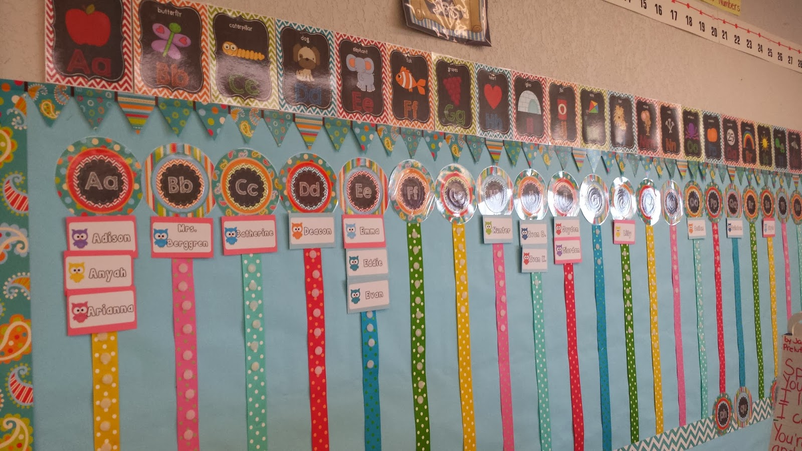 interactive Word Wall--Ribbon and Velcro
