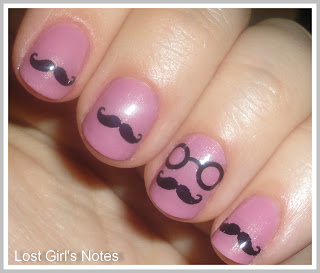 mustache water decals nail art