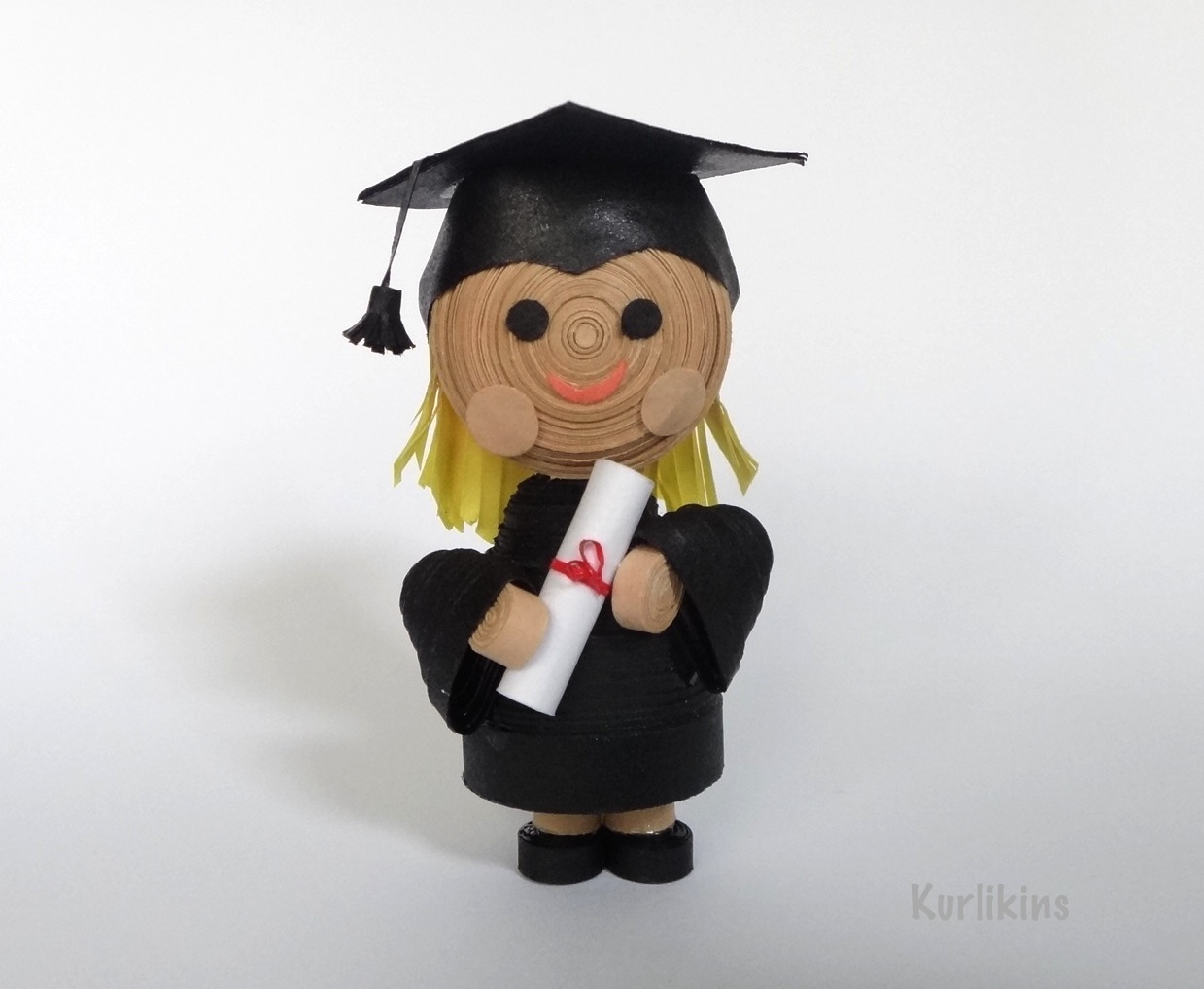 3D paper quilling miniature graduation girl