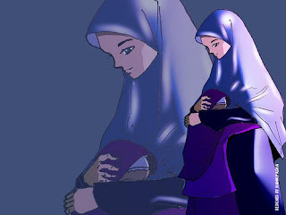 foto gambar wanita muslim ibu dan anaknya