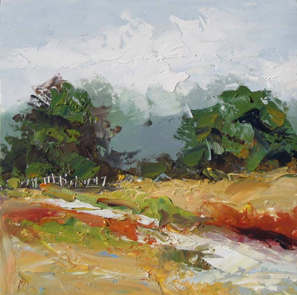 TOM BROWN FINE ART LANDSCAPE WITH FENCE IMPRESSIONIST OIL