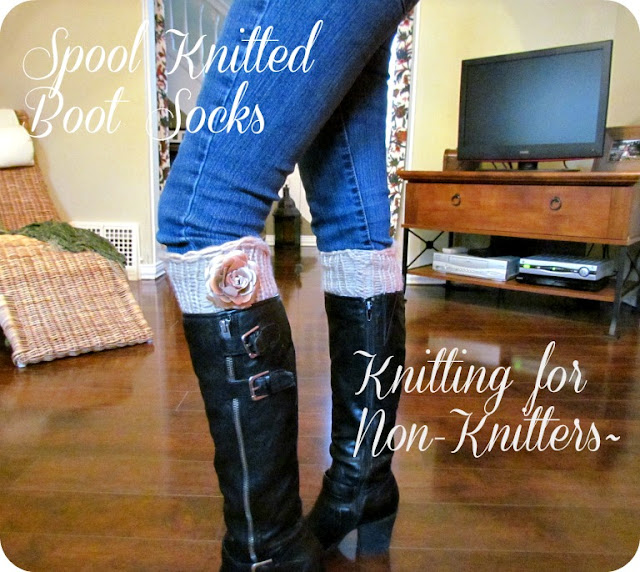 boot socks, DIY socks, spool knitting, loom knitting, leg warmers