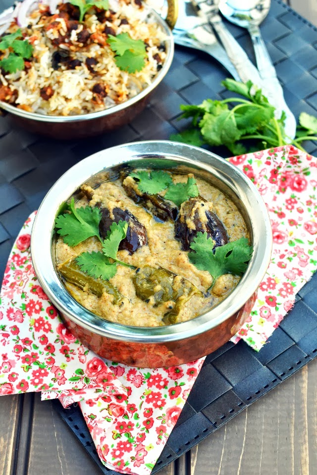 Mirchi Baingan Salan (Hyderabadi Chili-Eggplant Curry in Sesame Peanut gravy)