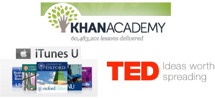 KAhn Academy, TED, iTunes U