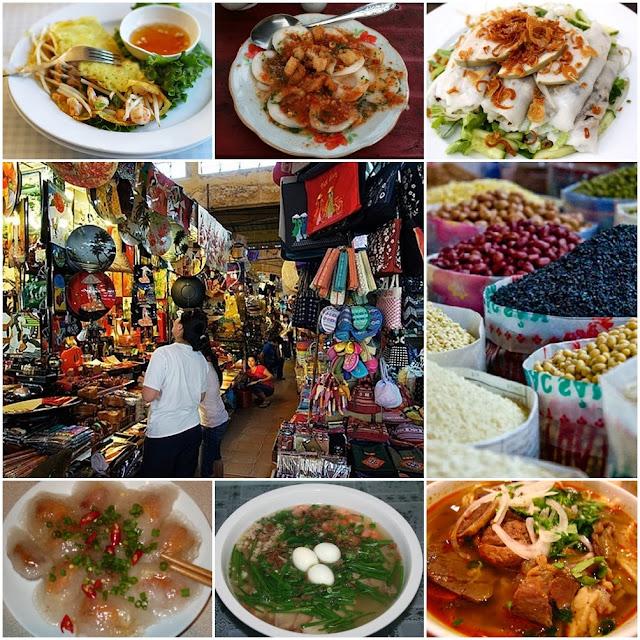 What can be found in Ben Thanh Market : Bun , Hu Tiu , Banh Beo , Banh Xeo , Souvenirs , ........