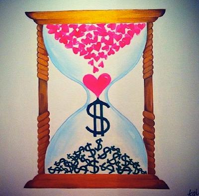 Sue Tsai painting art hourglass money love